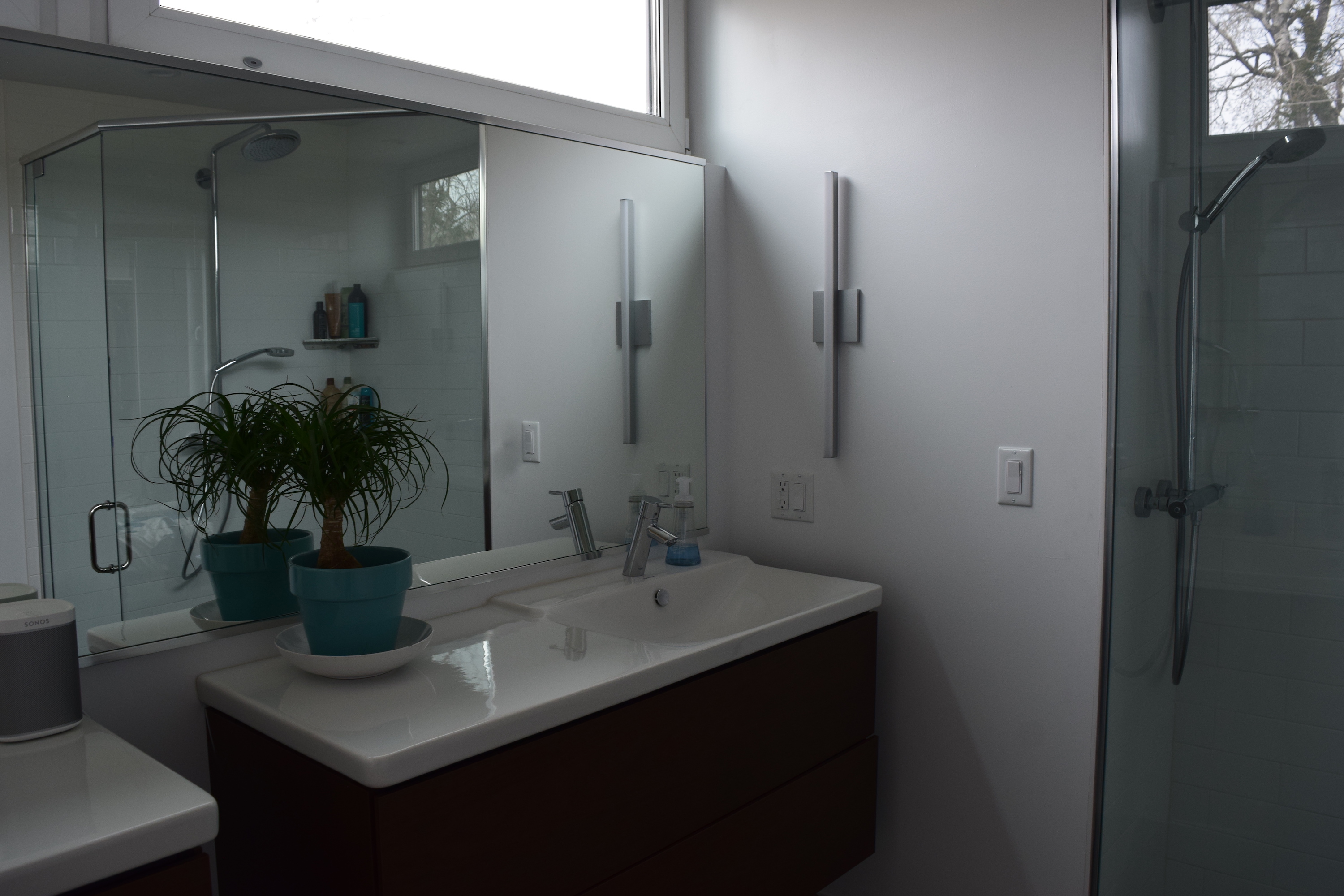 Clean, crisp and modern master bathroom in the Hidden ...